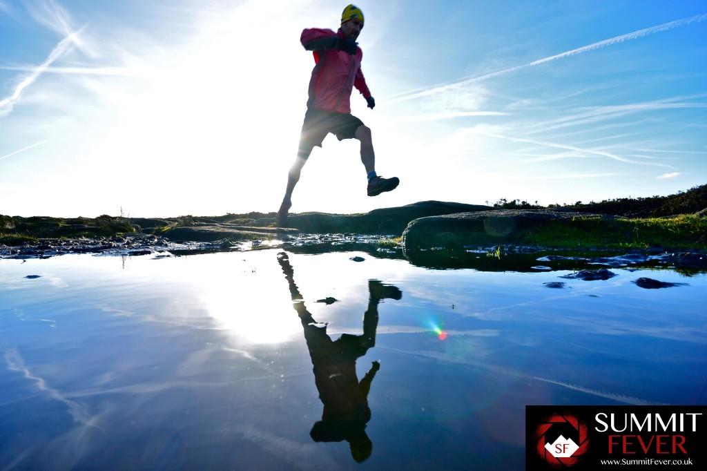 trail running over puddles
